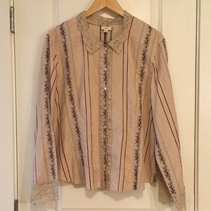 J Jill Lace Embroidered Longsleeves Top Blouse XL